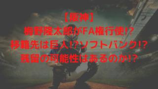 【阪神】梅野隆太郎がFA権行使!?移籍先は巨人!?ソフトバンク!?残留の可能性はあるのか!?